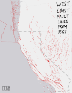 Map of all fault lines on West Coast of US