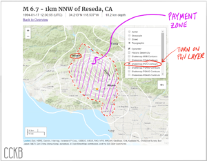 Map of Jumpstart's payout zone over USGS data