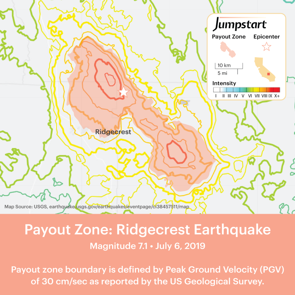 Jumpstart payout map for the Ridgecrest Earthquake