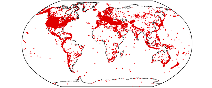 Map of seismic stations worldwide