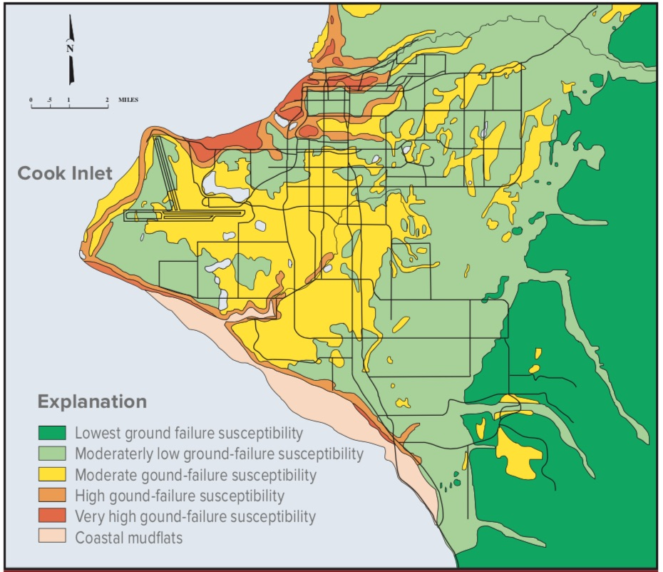 Anchorage earthquake liquefaction map