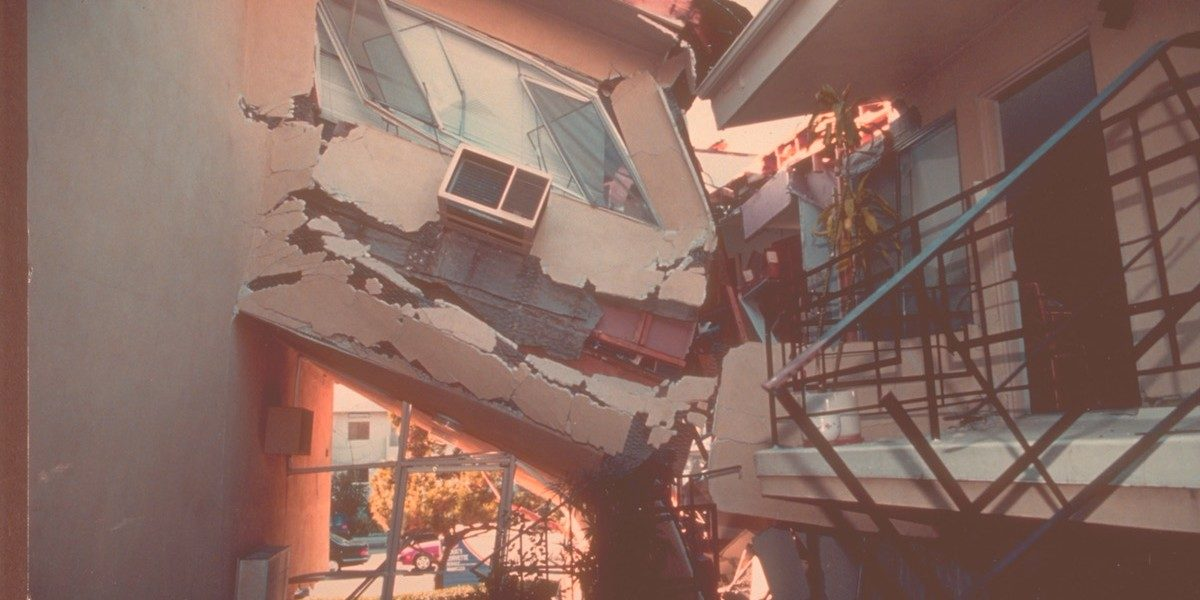 earthquake-destroyed apartment complex