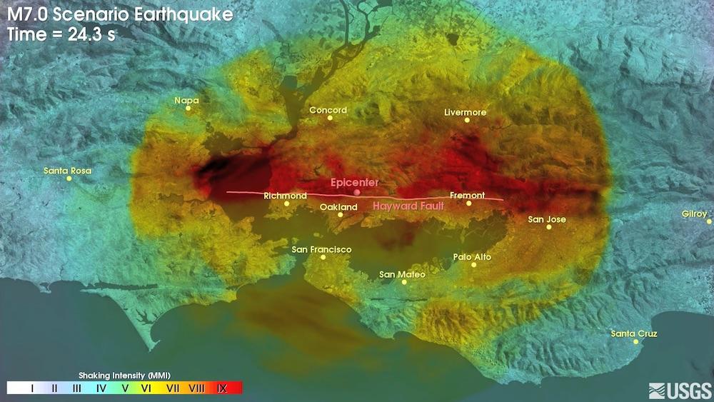 USGS animation of the Hayward fault scenario