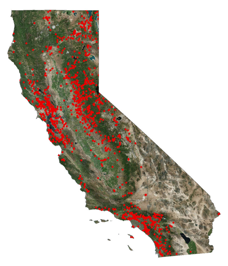 Buying a house in earthquake country - map of the dams in California