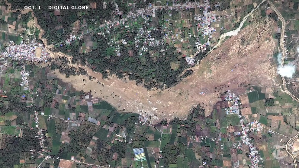 Satellite picture of Palu, Indonesia after 2018 earthquake caused liquefaction and landslides