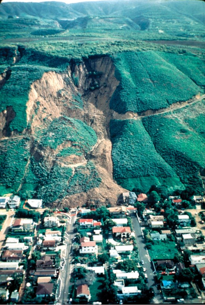 USGS photo of a landslide caused by rainfall in La Conchita, CA in 1995