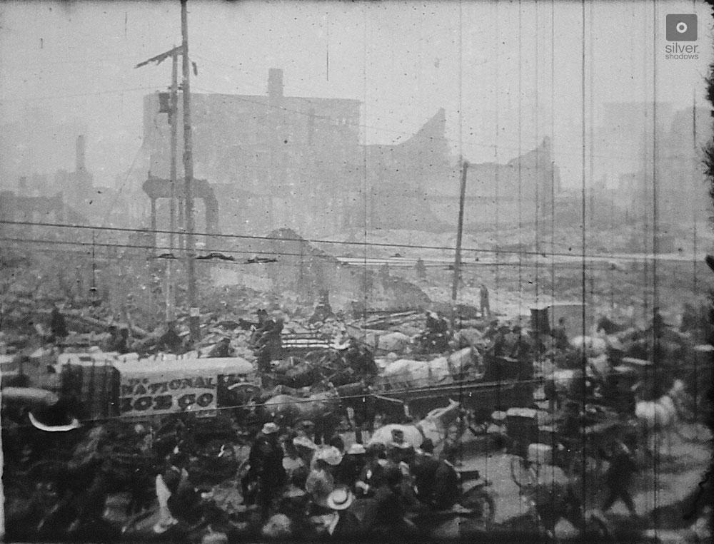 1906 San Francisco Earthquake - look back at Market street from the SF Ferry Building