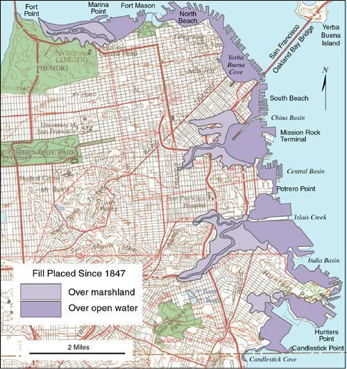 1906 San Francisco Earthquake - Changes since 1847