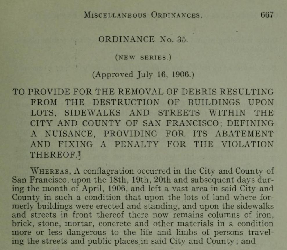 1906 San Francisco Earthquake - Municipal Code