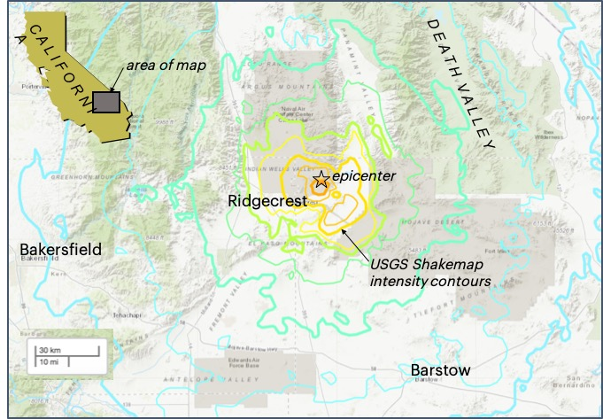 map of Ridgecrest with the epicenter of the earthquake