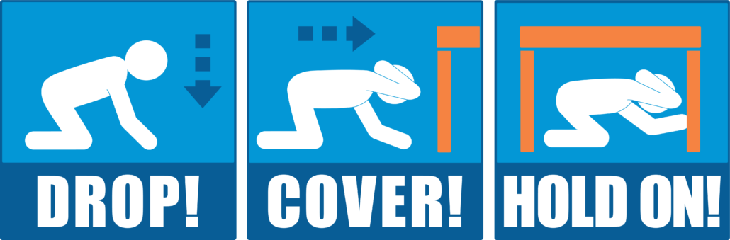 What should I do during an earthquake: Drop_Cover_Hold_On_ENG_Blue_Orange