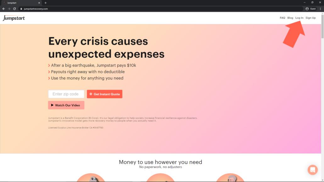 Screenshot of where to login on Jumpstart insurance site