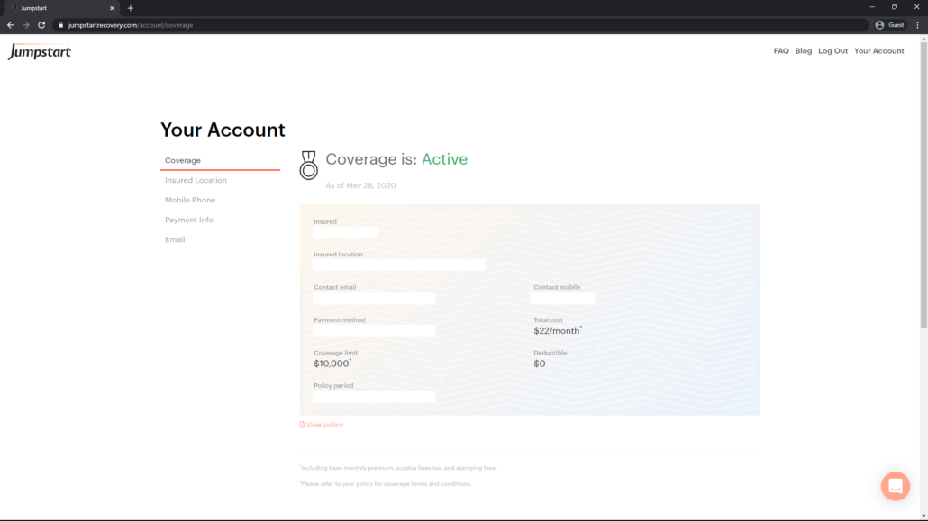 screenshot of current customer your account