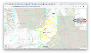 Screenshot of how to select PGV contours on the USGS interactive map