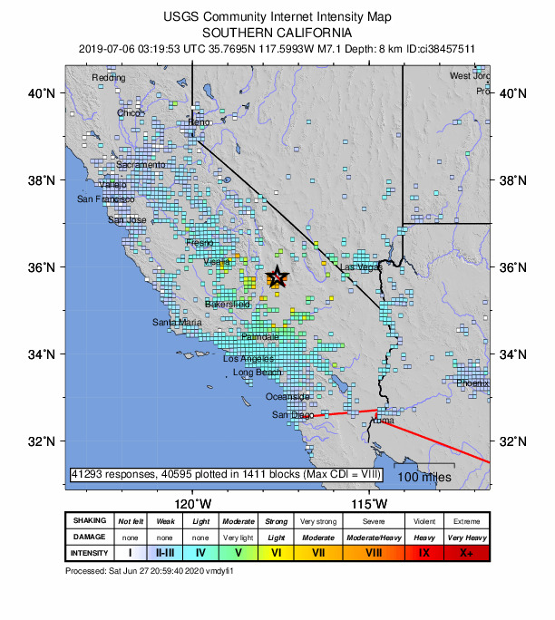 USGS map showing the intensity of the Ridgecrest earthquake