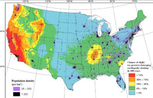 USGS earthquake hazard map showing 100 year chance of experiencing earthquake damage