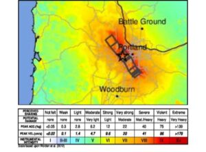 map of simulated shaking intensity in a 7.1 magnitude earthquake on the Portland Hills fault