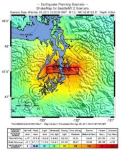 map of simulated shaking intensity in a 7.1 magnitude earthquake on the Seattle fault
