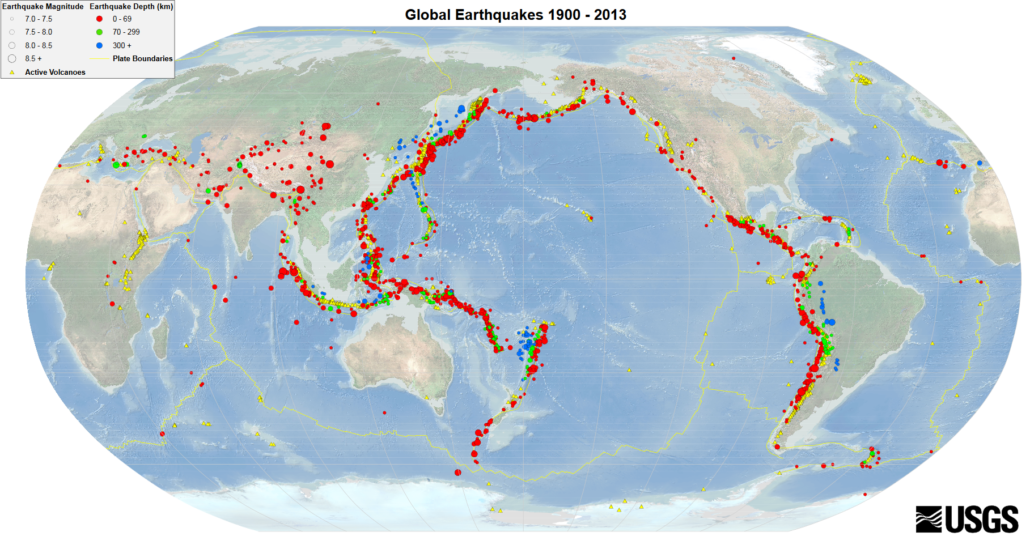 Global Earthquakes M7.0+ (depth 0–69km) along the Ring of Fire between 1900-2013 from USGS.